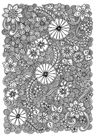 fillings: Pattern with flowers. Ornate zentangle texture, pattern with abstract flowers. Floral pattern can be used for wallpaper, pattern fills, web page background, surface textures. Illustration