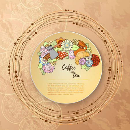 fillings: Breakfast theme. Pattern with tea cup, sweets and flowers. Tea and coffee hand drawn pattern. Background element for menu, site, cafe, restaurant, teahouse. Illustration