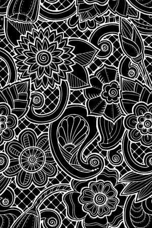 fillings: Seamless pattern with flowers and butterfly. Ornate zentangle seamless texture, pattern with abstract flowers. Floral pattern can be used for wallpaper, pattern fills, web page background. Illustration
