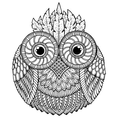 鳥のテーマ。抽象的な民族アステカ飾りのパターンで黒と白フクロウ マンダラ。フクロウの背景。フクロウのタトゥー。フクロウ マンダラの塗り絵