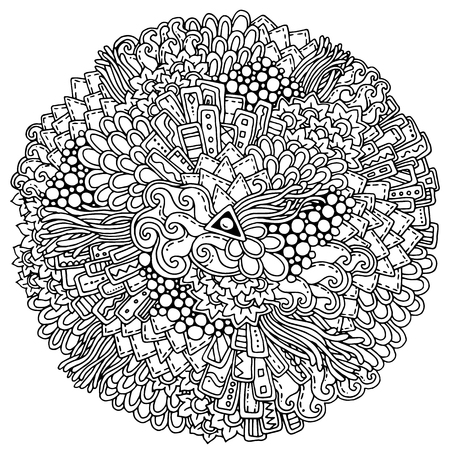 american butterflies: Circle summer doodle flower ornament with butterfly. Hand drawn art floral mandala. Black and white background. Zentangle inspired pattern for coloring book pages for adults and kids. Illustration