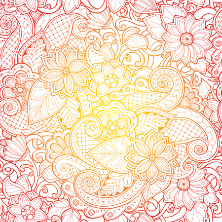wallpaper doodle: Doodle seamless background in vector with doodles, flowers and paisley. Vector ethnic pattern can be used for wallpaper, pattern fills. Illustration
