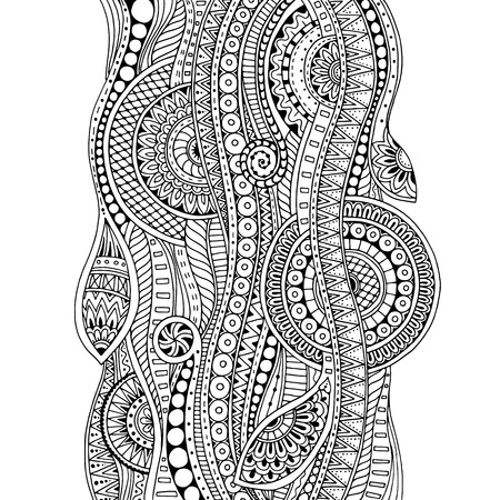 wallpaper doodle: Hand drawn tribal ethnic pattern. Doodle background with doodles, flowers and mandalas. For wallpaper, pattern fills, coloring books and pages for kids, adults. Geometric pattern. Black and white.