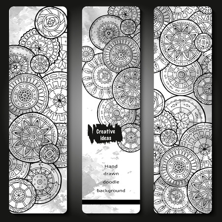 set series: Abstract vector hand drawn doodle floral pattern card set. Series of image Template frame design for card. Black and white