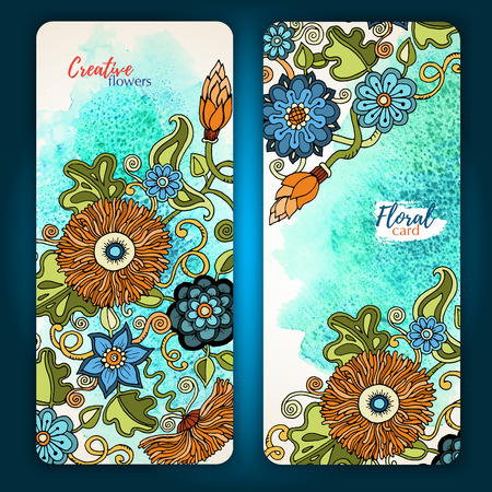Set of vector template banners with watercolor paint abstract background and doodle hand drawn flowers. Series of image Template frame design for card. Illustration