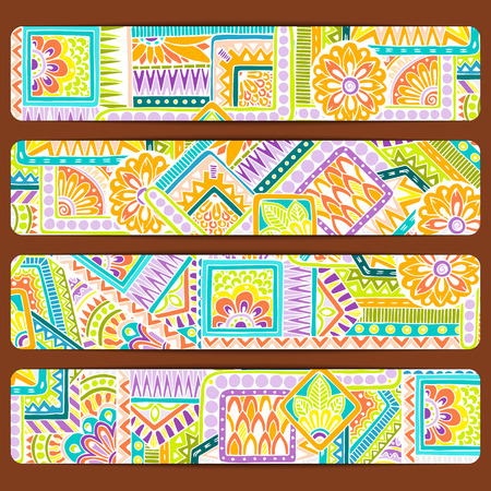 set series: Abstract vector hand drawn ethnic pattern card set. Series of image Template frame design for card