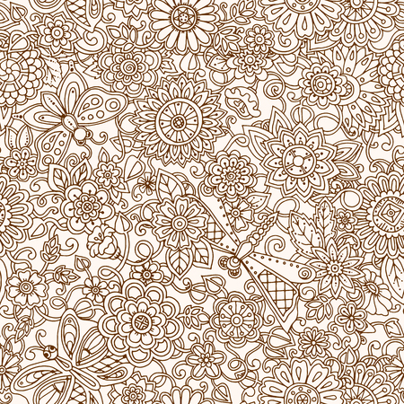 flower pattern: Seamless pattern with flowers.