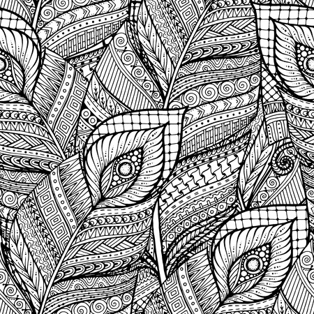 Seamless asian ethnic floral retro doodle black and white background pattern in vector with feathers. Henna paisley mehndi doodles design tribal pattern.