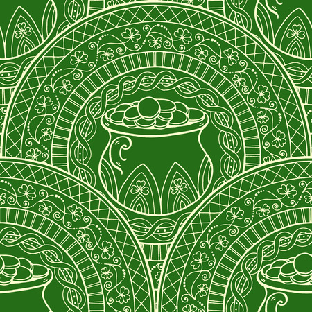 saint patrick's day: Saint Patricks Day Theme mandala with Irish pot, golden coins with clover. Black, white pattern. Can be used for wrapping paper, coloring book for adults and kids. Engrave tiled seamless background. Illustration