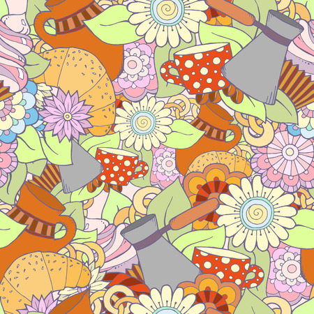 cezve: Breakfast theme. Seamless pattern with coffee cezve, pot, jug, tea cup, croissant, cupcake, sweets and flowers. Tea and coffee seamless pattern. Background for menu, site, cafe, restaurant, teahouse.
