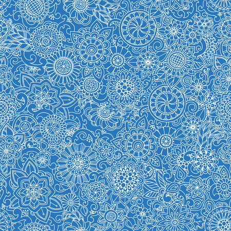 asian children: Blue monochrome seamless hand drawn pattern with flowers. Ornate pattern with abstract flowers and leaves. Doodle floral background. Zentangle inspired pattern. Pattern for your business.