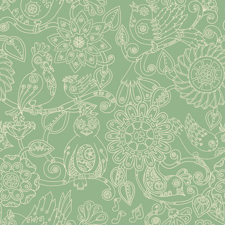fillings: Doodle seamless background with steampunk birds and flowers. Vector ethnic pattern can be used for wallpaper, pattern fills, invitations, book cover, web pages. Hand drawn pattern. Illustration