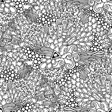 fillings: Seamless black and white ethnic floral retro doodle background pattern in vector. Henna paisley mehndi doodle design tribal pattern. Abstract pattern with circles, waves, triangles, geometrical shapes