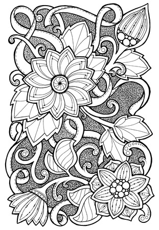 Hand drawn patterns with flowers. Ornate patterns with abstract flowers and leaves. Doodle floral background