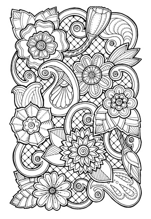ornate background: Hand drawn patterns with flowers. Ornate patterns with abstract flowers and leaves. Doodle floral background