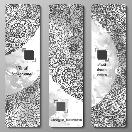 set series: Abstract vector hand drawn doodle floral pattern card set. Series of image Template frame design for card. Illustration