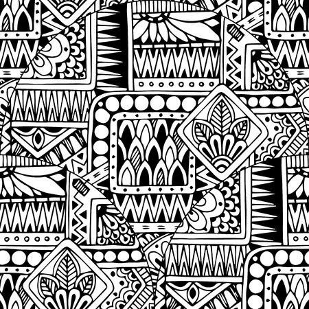 vintage patterns: Seamless asian ethnic floral retro doodle black and white background pattern in vector. Henna paisley mehndi doodles design tribal black and white pattern.