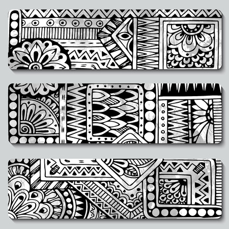 set series: Abstract vector hand drawn ethnic pattern card set. Series of image Template frame design for card. Black and white.