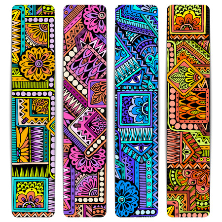 vintage border: Abstract vector hand drawn ethnic pattern card set. Series of image Template frame design for card