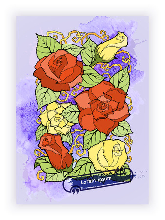 abstract rose: Floral card. Hand drawn artwork with abstract flowers. Background for web, printed media design. Banner, business card, flyer, invitation, greeting card, postcard.