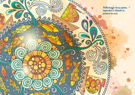 Vector template poster met aquarelverf en etnische zee mandala. Patroon met decoratieve ornament, doodle vissen, golven, wind en schepen. Abstracte aquarel achtergrond voor flyers, posters of menu.