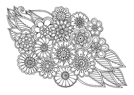 Summer doodle flower ornament with leaves. Hand drawn art floral mandala. Black and white background. inspired pattern for coloring book pages for adults and kids.
