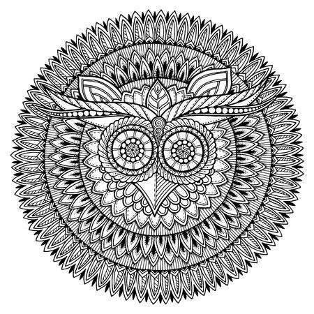 Estilizada Decorativa Del Búho Del Vector Dibujo Para Colorear