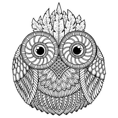Birds theme. Owl black and white mandala with abstract ethnic aztec ornament pattern. Owl background. Owl tattoo. Page for coloring book with owl mandala. style. Stylized Owl.