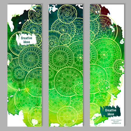 set series: Abstract vector hand drawn doodle floral pattern card set. Series of image Template frame design for card. Green watercolor texture with white mandalas.