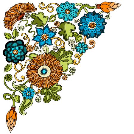 etnic: Ethnic floral, doodle background pattern circle in vector. Henna paisley mehndi doodles design tribal design element Illustration