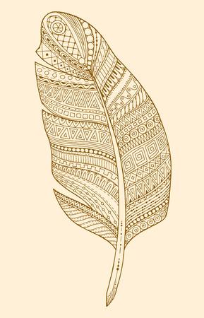 white feather: Artísticamente dibujado, estilizado, vector pluma sobre un fondo blanco. Pluma tribal vintage. Serie de la pluma del doodle.