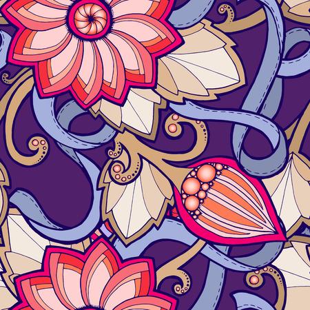 定型化された花のシームレスなパターン。抽象的な花模様の華やかなシームレスなテクスチャ花柄の壁紙、パターンの塗りつぶし、web ページの背景