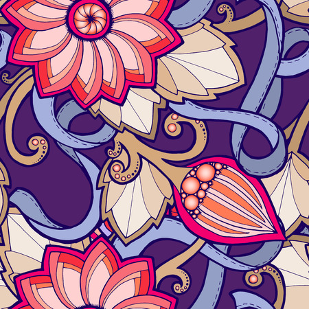 Seamless pattern with stylized flowers. Ornate  seamless texture, pattern with abstract flowers. Floral pattern can be used for wallpaper, pattern fills, web page background.