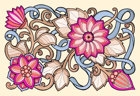 silhouette fleur: Floral card. Hand drawn illustration avec des fleurs abstraites. Contexte pour le web, imprimé media design. Bannière, carte de visite, flyer, invitation, carte de voeux, carte postale.