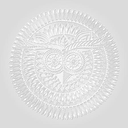 Vögel Thema Eule Schwarzweiss Mandala Mit Abstrakten Ethnischen