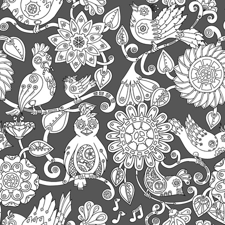 page background: Doodle seamless background with steampunk birds and flowers. Vector ethnic pattern can be used for wallpaper, pattern fills, invitations, coloring books, pages for kids and adults. Black and white.