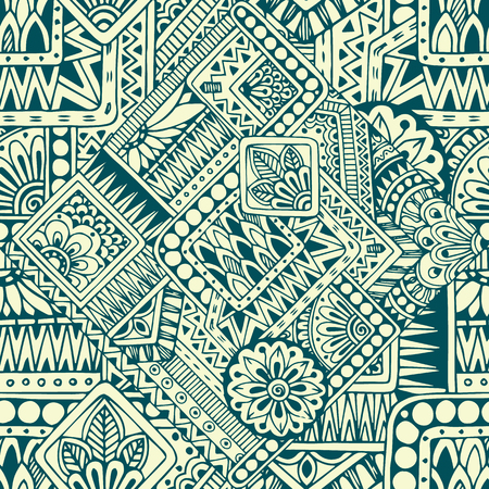 seamless floral pattern: Seamless asian ethnic floral retro doodle black and white pattern in vector.Background with geometric elements.