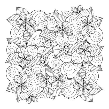 Doodle achtergrond in vector met krabbels, bloemen en paisley. Vector etnische patroon kan worden gebruikt voor behang, patroonvullingen, kleurboeken en pagina's voor kinderen en volwassenen. Zwart en wit.