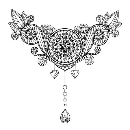 Etnicznej kwiatowy, doodle wzór tła w wektorze. Henna Paisley Mehndi Doodles wzór tribal design element. Czarno-biały wzór dla kolorowanka dla dorosłych i dzieci.