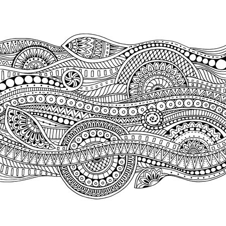 Ethnic floral, doodle background pattern in vector. Henna paisley mehndi doodles design tribal design element. Black and white pattern for coloring book for adults and kids.