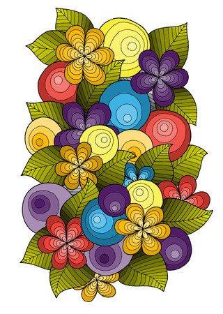 wallpaper doodle: Flower ornament, template design. Floral mandala. Hand drawn ink pattern made by trace from sketch. Doodle pattern with doodles, flowers and paisley. Pattern can be used for wallpaper, pattern fills.