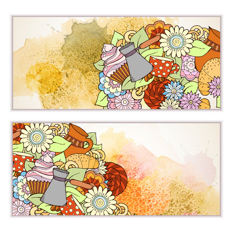 fillings: Breakfast banners. Pattern with coffee cezve, sweets and flowers. Tea and coffee hand drawn pattern. Card background for menu, site, cafe, restaurant, teahouse. Illustration