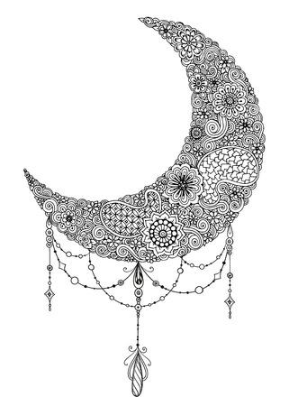 Hand drawn lune avec des fleurs, des mandalas et paisley. Noir et blanc motif floral. carte de la Lune pour le mois sacré du Ramadan. Vector Illustration. Vecteurs
