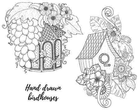 nesting box: Black and white wood nesting box. Hand drawn outline nesting box decorated with floral ornament.