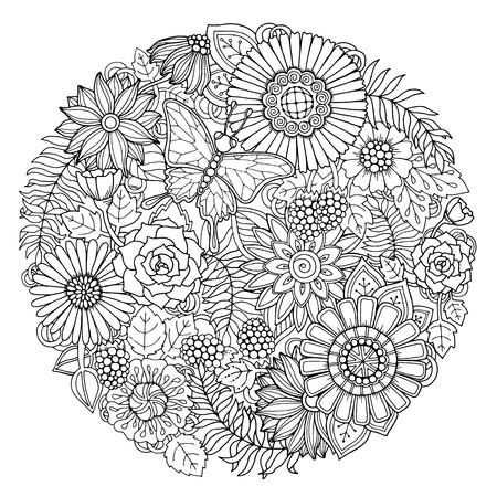 Circle summer doodle flower ornament with butterfly. Hand drawn art floral mandala. Black and white background.
