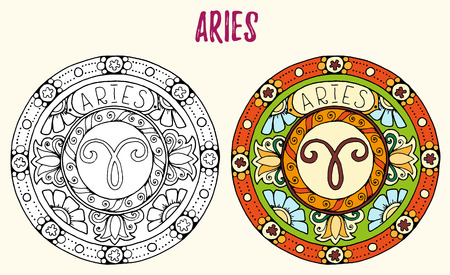 tribal aquarius: Zodiac signs theme. Black and white and colored mandalas with aries zodiac sign.