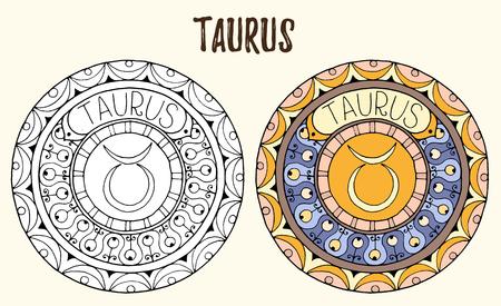 gemini zodiac: Zodiac signs theme. Black and white and colored mandalas with taurus zodiac sign.