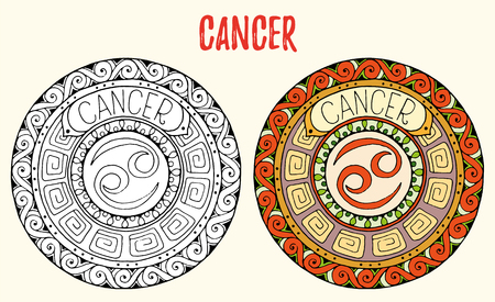 tribal aquarius: Zodiac signs theme. Black and white and colored mandalas with cancer zodiac sign.