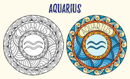 Zodiac signs theme. Black and white and colored mandalas with aquarius zodiac sign.