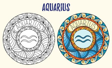 gemini zodiac: Zodiac signs theme. Black and white and colored mandalas with aquarius zodiac sign.